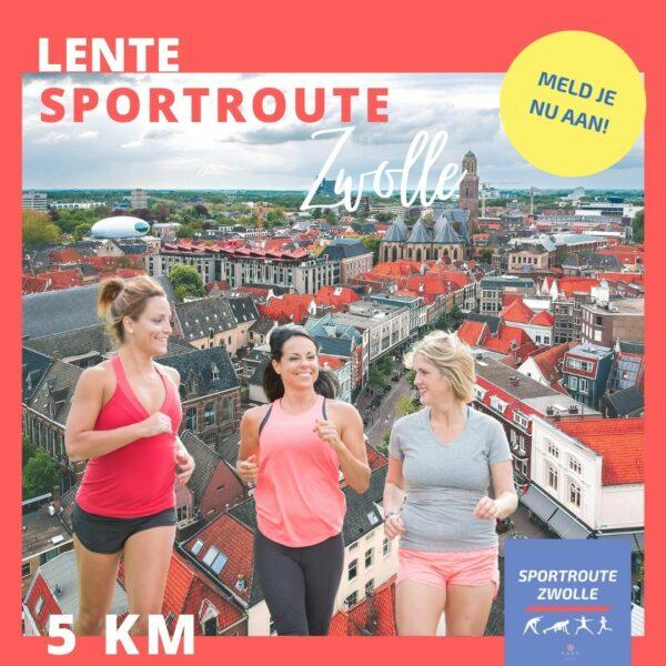 drie vrouwen rennen de lente sportroute door zwolle