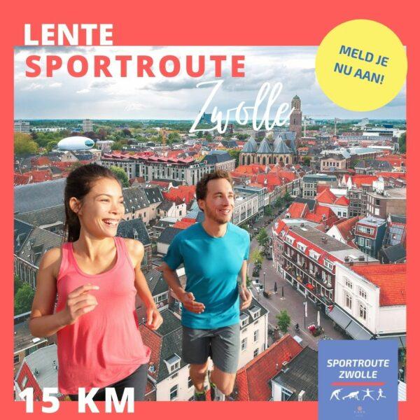 man en vrouw rennen door stad zwolle sportroute